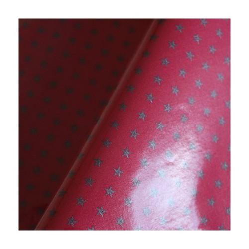 tissu-france-duval-stalla-enduit-brillant-fushia-etoiles-argent