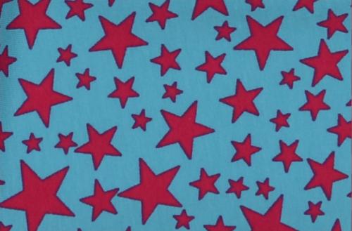 jersey étoiles fuchsia fond turquoise